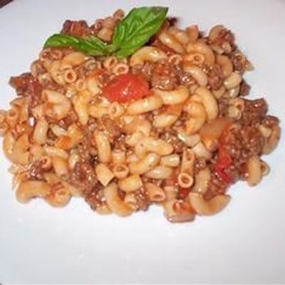 bœuf maison, macaronis et fromage