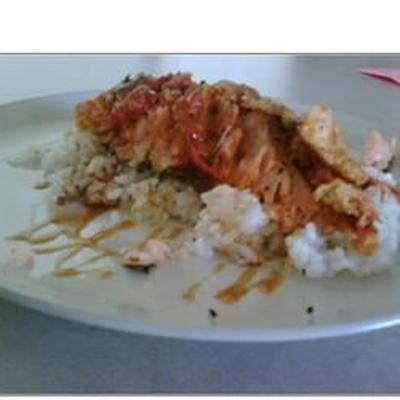 saumon, riz et tomates frites