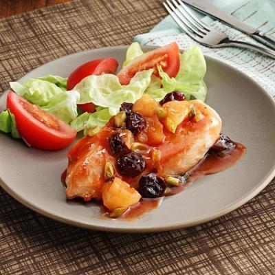 poulet léger et rapide avec sauce cerise-ananas