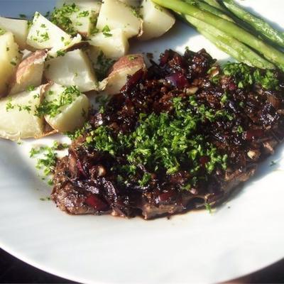 steak de fer plat avec réduction balsamique