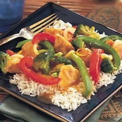 sauté de poulet et de légumes à l'orange