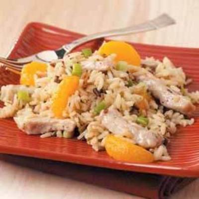 côtelettes de porc à la mandarine et riz sauvage
