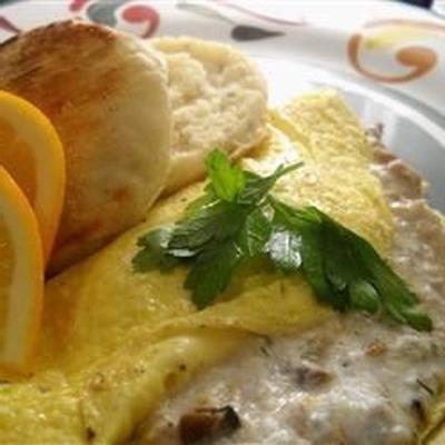 omelette au fromage à la crème de thon