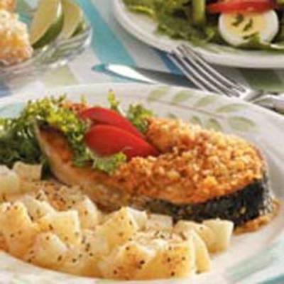 steaks de saumon croustillants