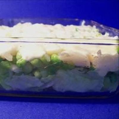 salade de petits pois en couches