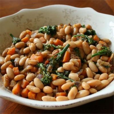 salade de haricots cannellini à l'érable, bébé brocoli et courge musquée