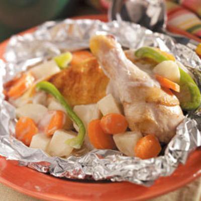 ragoût de poulet au feu de camp