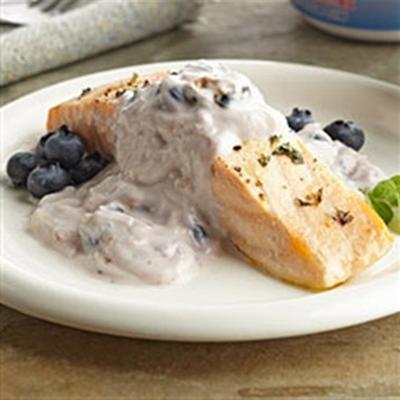 saumon grec avec tzatziki aux bleuets