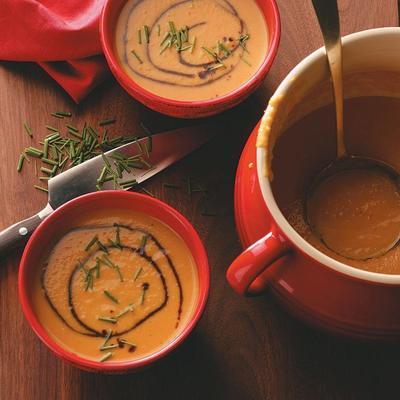 soupe de courge musquée et de poires au curry