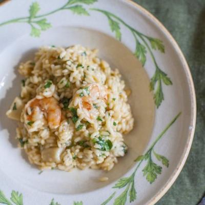 risotto italien aux crevettes et pétoncles