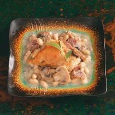 poulet à la sauce aux champignons saltimboca et haricots cannellini