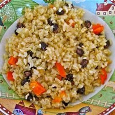 riz brun aux haricots noirs et poivrons