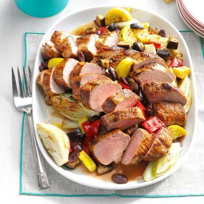 Filets de porc rôtis au fenouil et légumes d'été