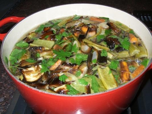 bouillon de légumes rôti