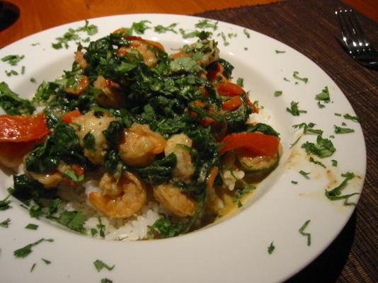 curry thaï aux crevettes et aux épinards