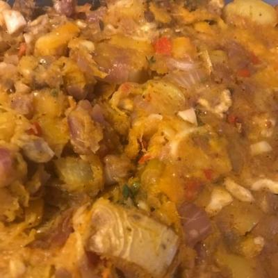 tarte aux pommes de terre et à la citrouille