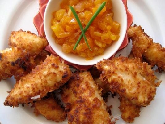 poulet à la noix de coco avec chutney au piment et à l'abricot