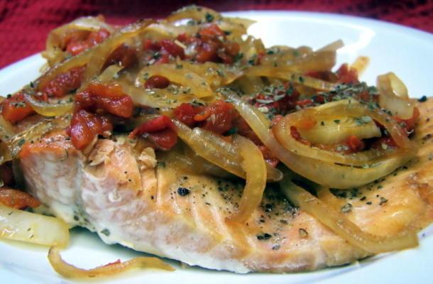 saumon sauté poivron rouge
