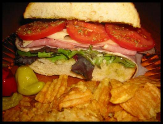 pesto, jambon (prosciutto) et sandwich au fromage