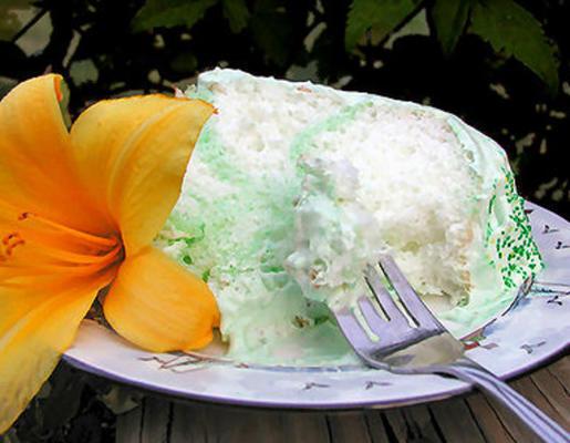 Gâteau ange vert avec glaçage aux fruits moelleux