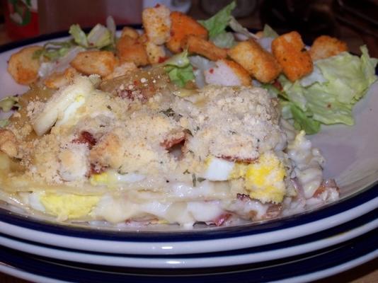 lasagne au bacon et aux œufs