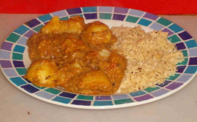 poulet, lentilles, curry de pommes de terre
