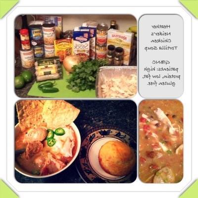 soupe tortilla au poulet avec poulet rôti et saucisses