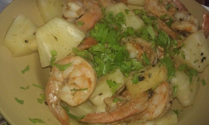 tikka aux crevettes et à l'ananas