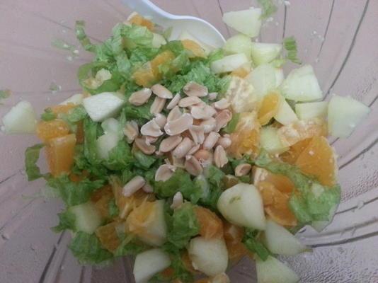 salade de pommes et d'oranges avec vinaigrette au miel et à l'ail
