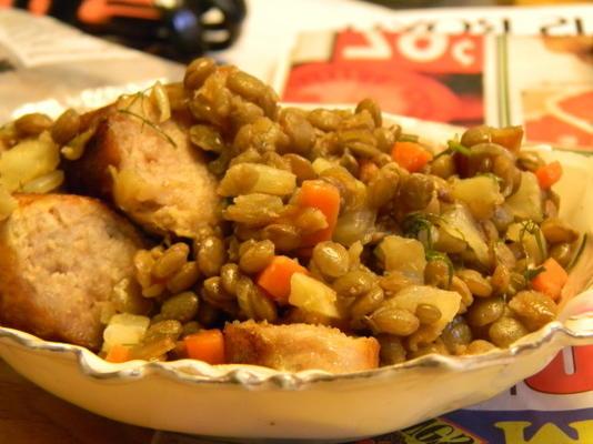 saucisses, lentilles et fenouil