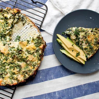 tarte aux artichauts, kale et ricotta